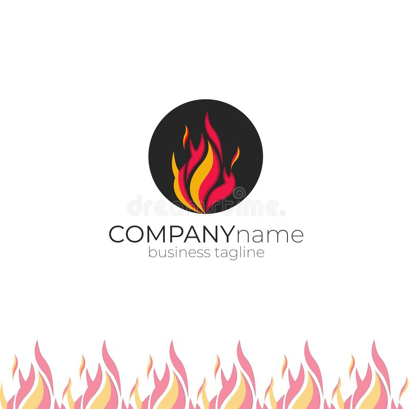 Brandlogo - brandman, lampglas-svep logo vektor illustrationer
