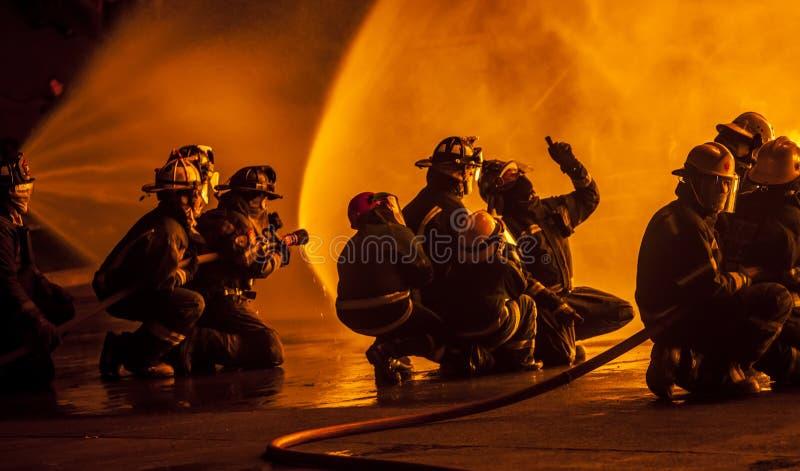 Brandmän som diskuterar hur man slåss brand royaltyfri bild