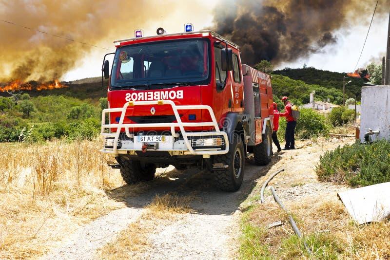 Brandmän som slåss en enorm bushfire i Portugal fotografering för bildbyråer