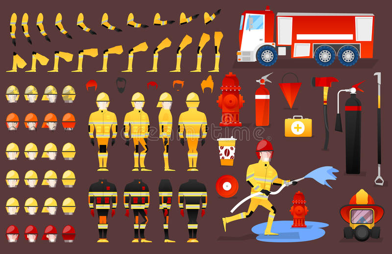 Brandman Character Creation Constructor mannen i olikt poserar Manlig person med framsidor, armar, ben, frisyrer royaltyfri illustrationer