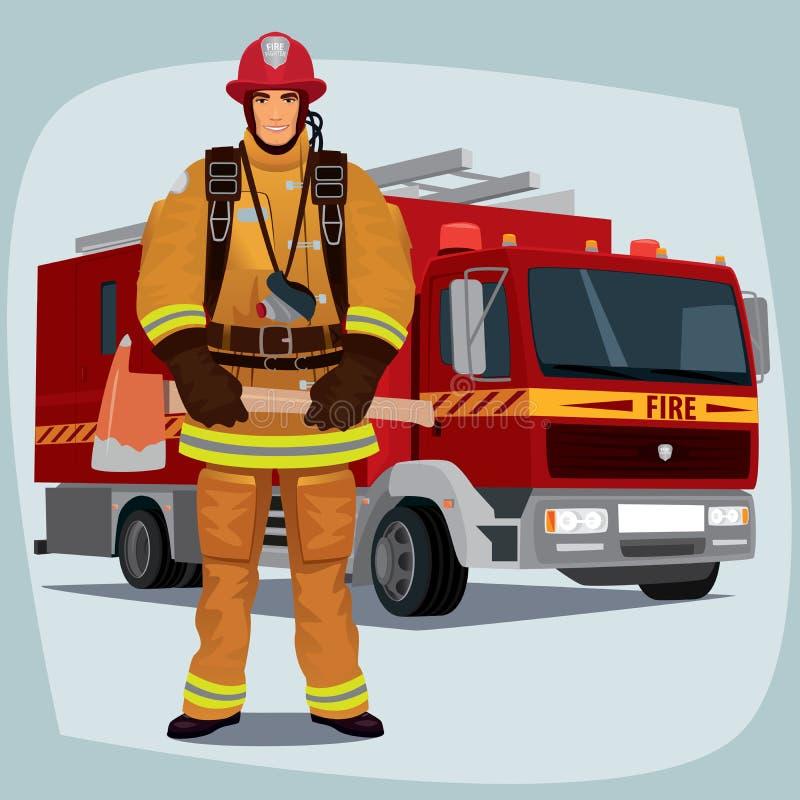 Brandman eller brandman med brandlastbilen royaltyfri illustrationer