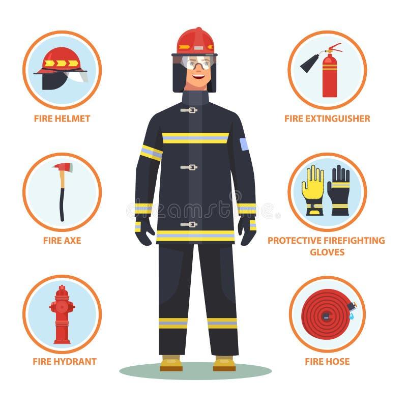 Brandman eller brandman med hjälmen och vattenposten stock illustrationer