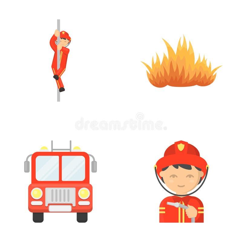 Brandman flamma, brandlastbil Symboler för samling för branddepartmentsetuppsättning i symbol för tecknad filmstilvektor lagerför stock illustrationer