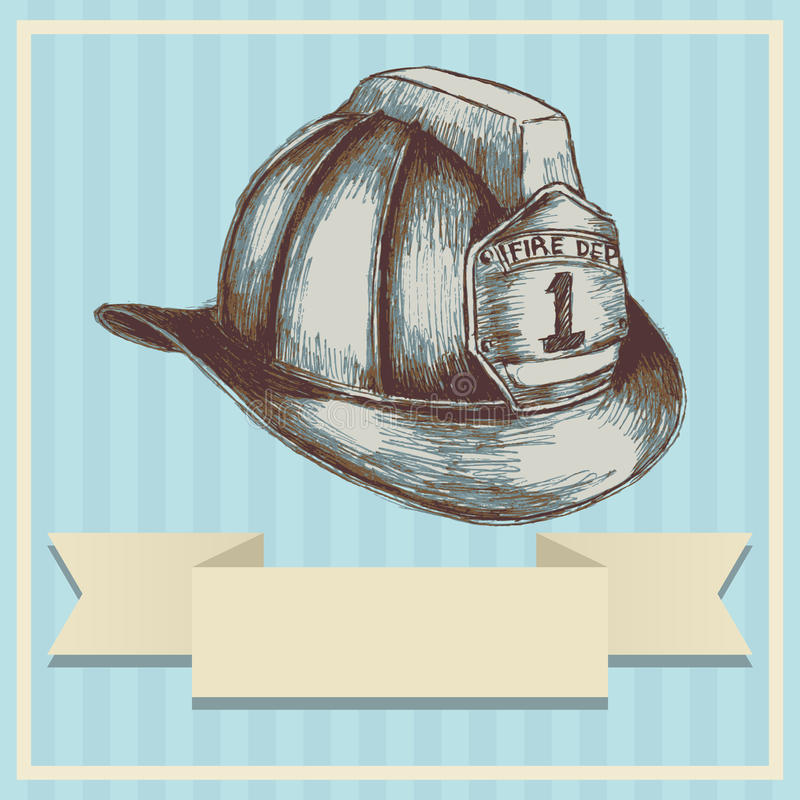 Brandman Helmet stock illustrationer