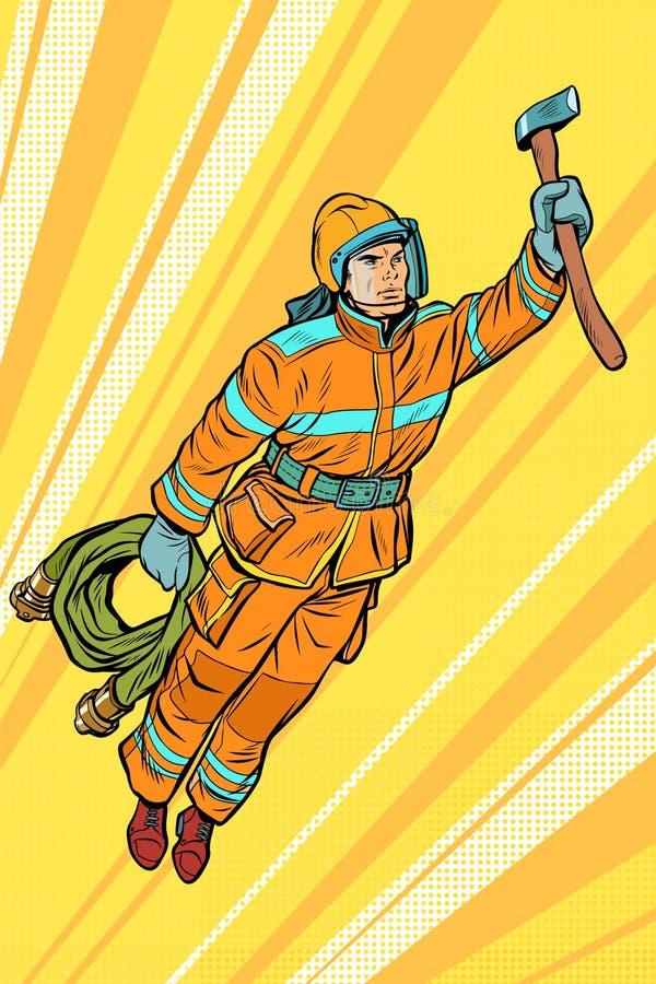 Brandman hjälp för brandmanflygsuperhero stock illustrationer