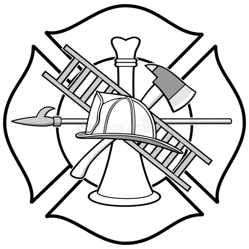 Brandman Honor Badge Illustration royaltyfri illustrationer