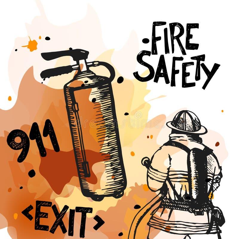 Brandman med ett slangtecken vektor illustrationer