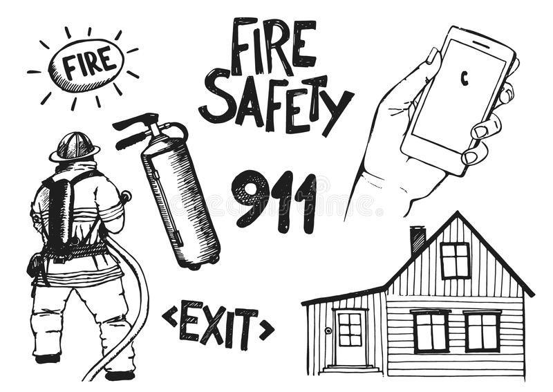 Brandman med ett slangtecken stock illustrationer