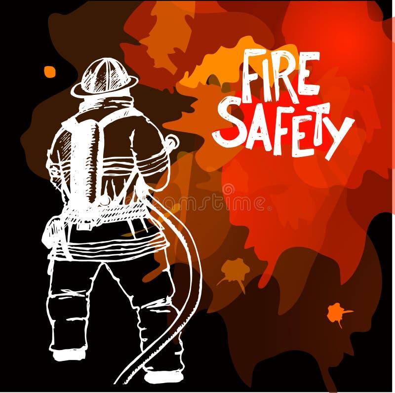 Brandman med ett slangtecken royaltyfri illustrationer