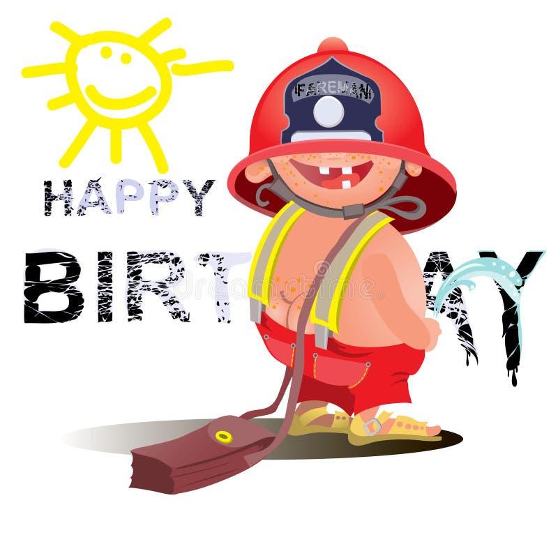 Brandman med ett slangtecken Utmärkt för några projekt för design för brandsäkerhet stock illustrationer