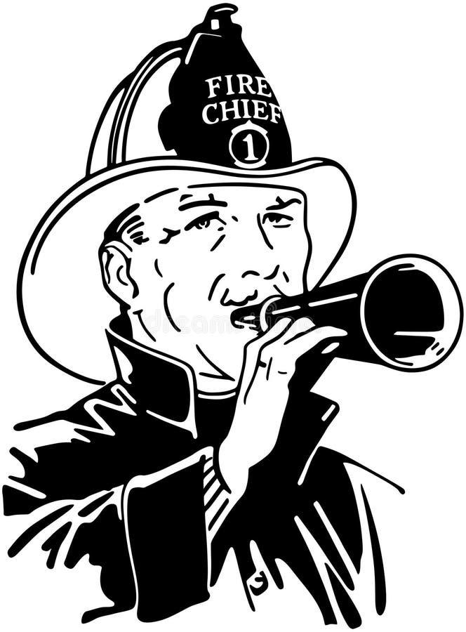Brandman med megafon royaltyfri illustrationer