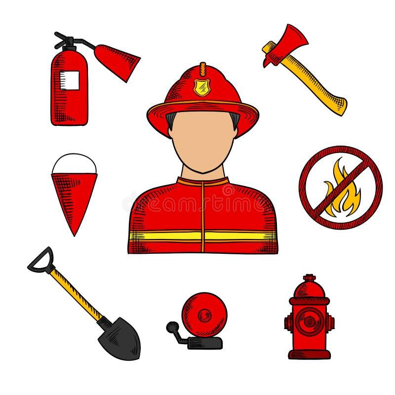 Brandman- och brandstridighetsymboler royaltyfri illustrationer