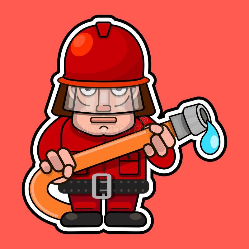 brandman Plan tecknad filmteckendesign Vektorillustration som isoleras på vit bakgrund vektor illustrationer