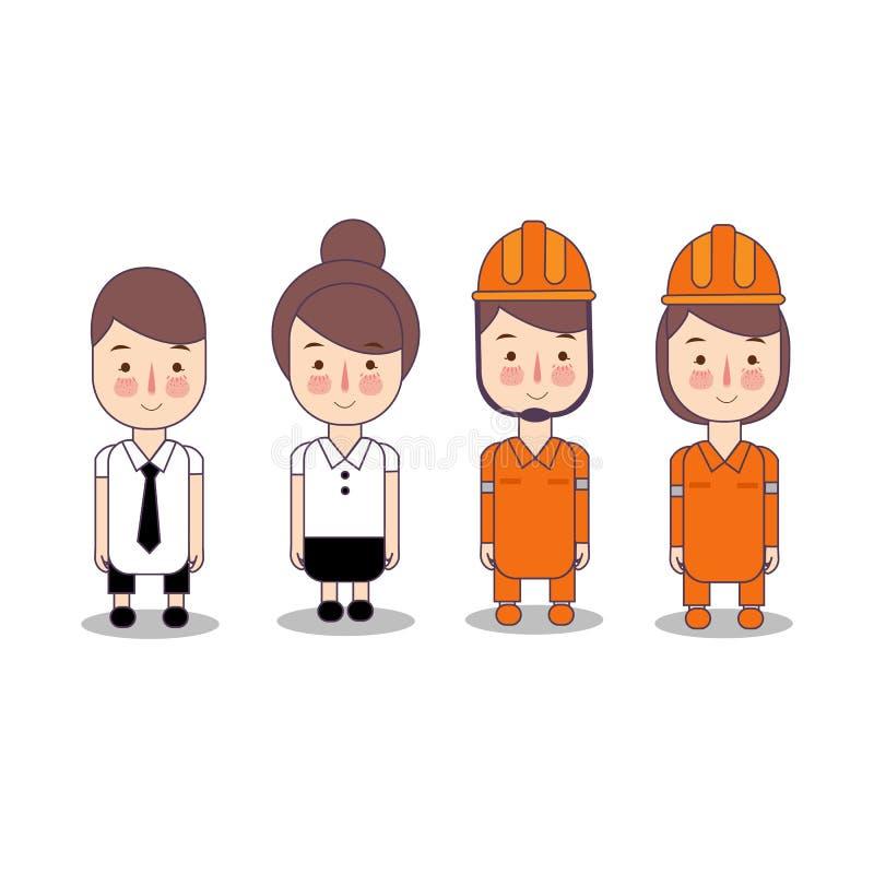 Brandman som bär den orange hjälm- och kontorsarbetaren med bandet Uppsättning för ungeteckensamling av yrkeockupationen in royaltyfri illustrationer