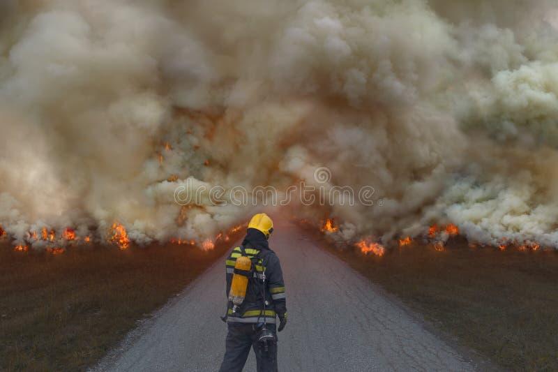 Brandman som försöker att förhindra spridningen av naturkatastrofen arkivfoton