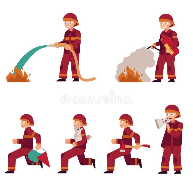 Brandman som släcker branduppsättningen som isoleras på vit bakgrund Plant tecknad filmtecken av brandmannen royaltyfri illustrationer