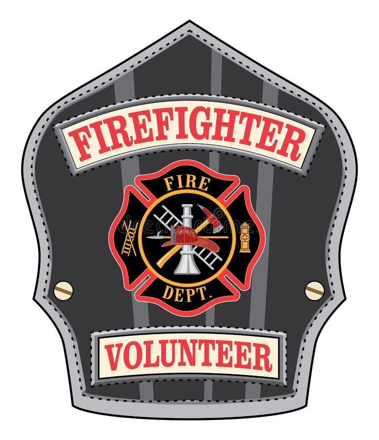 Brandman Volunteer Badge vektor illustrationer