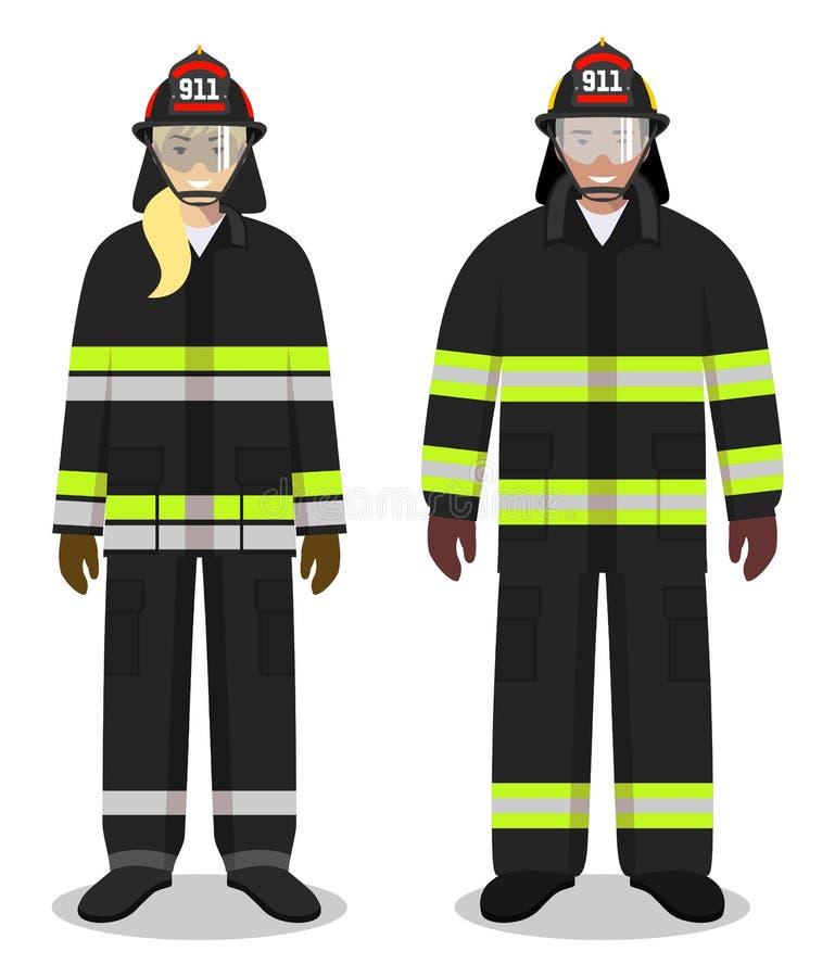 Brandmanbegrepp Par av brandmannen och firewomanen som tillsammans står på vit bakgrund i plan stil Plant designfolk royaltyfri illustrationer