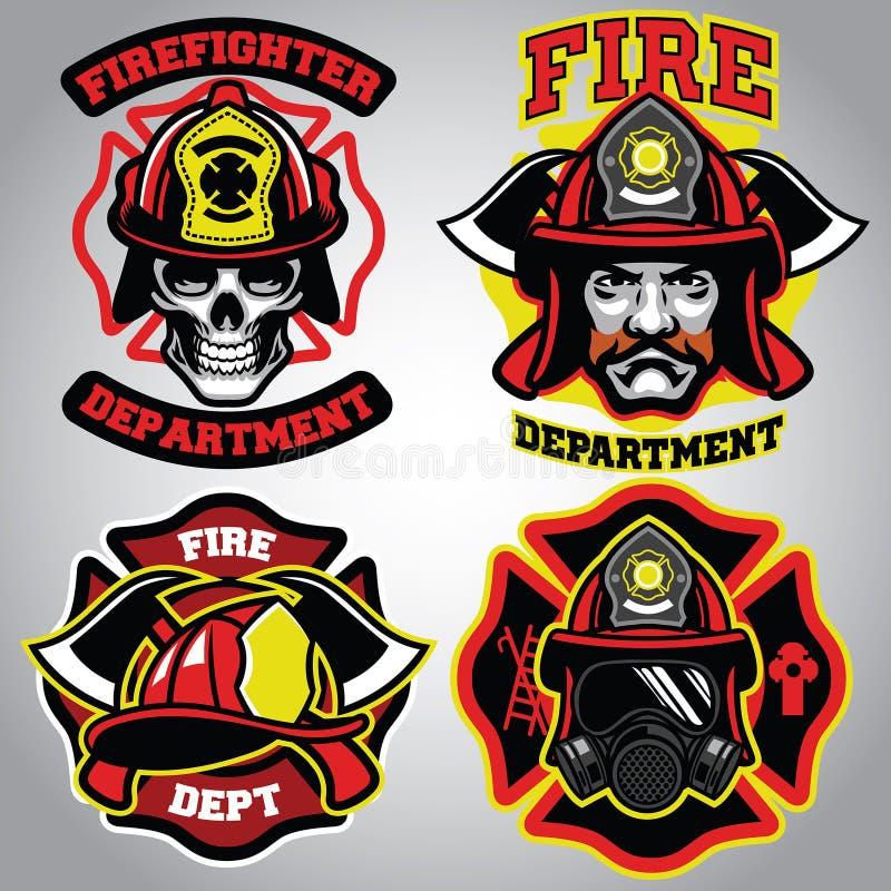 Brandmanemblemuppsättning royaltyfri illustrationer