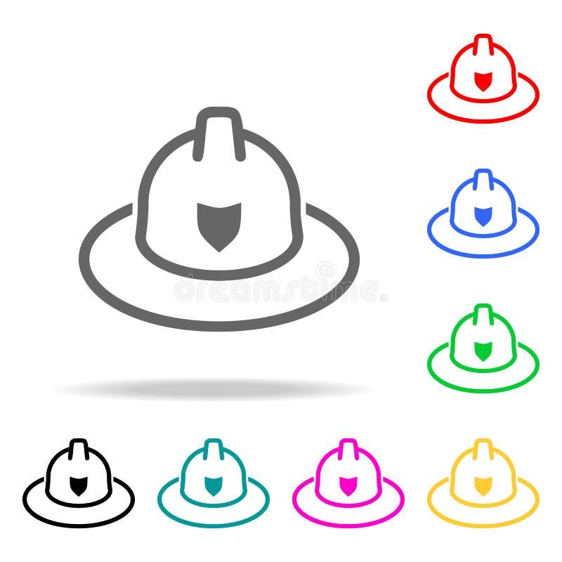 Brandmanhattsymbol Mång- kulöra symboler för beståndsdelbrandmän för mobila begrepps- och rengöringsdukapps symbol för websitedes royaltyfri illustrationer