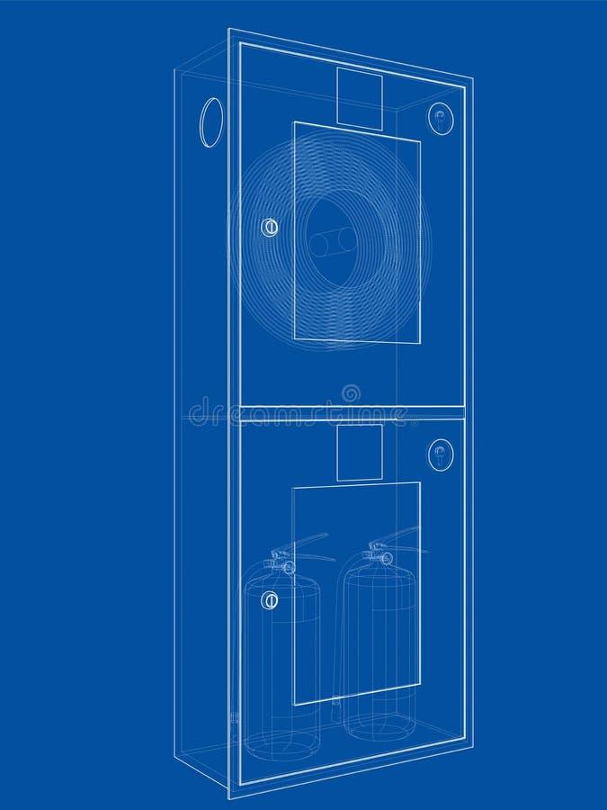 Brandmanhjälpmedel i kabinett för brandslang vektor vektor illustrationer