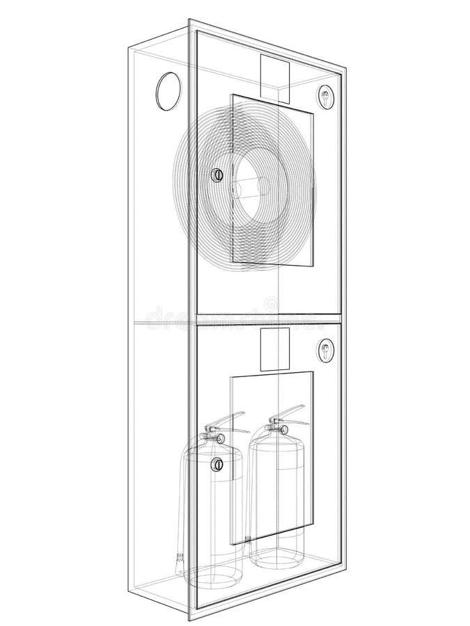 Brandmanhjälpmedel i kabinett för brandslang vektor royaltyfri illustrationer