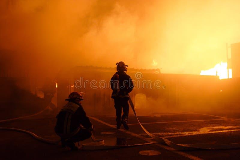 brandmanlag arkivfoto