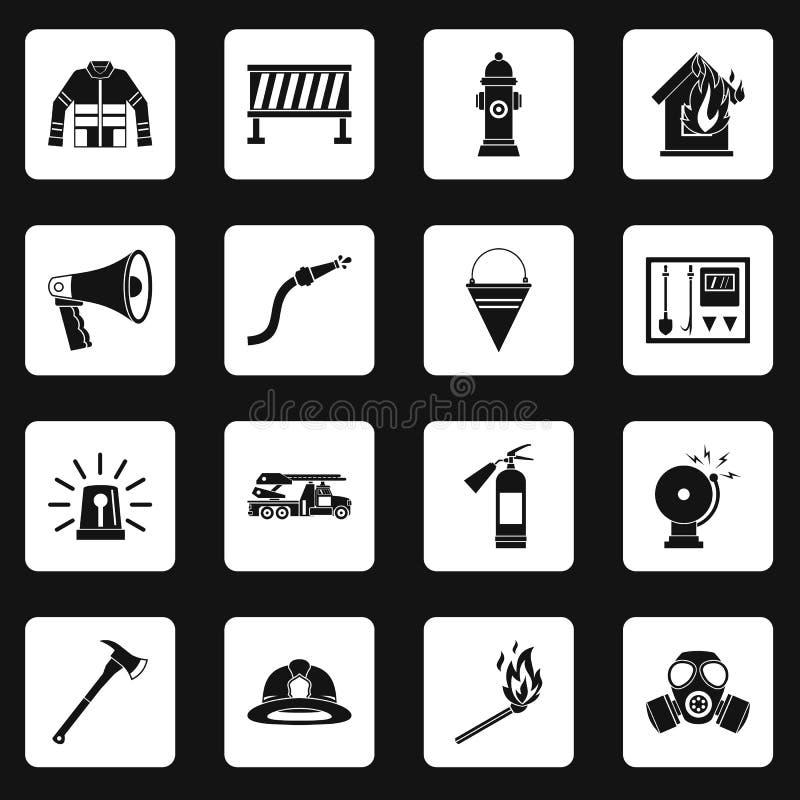Brandmannen bearbetar vektorn för fastställda fyrkanter för symboler stock illustrationer