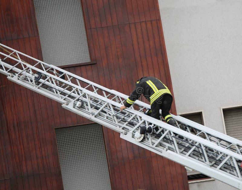 Brandmannen går på den flyg- stegen royaltyfria bilder