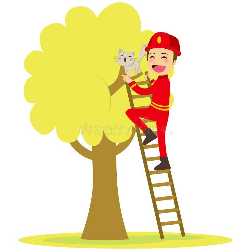 Brandmannen räddar katten royaltyfri illustrationer