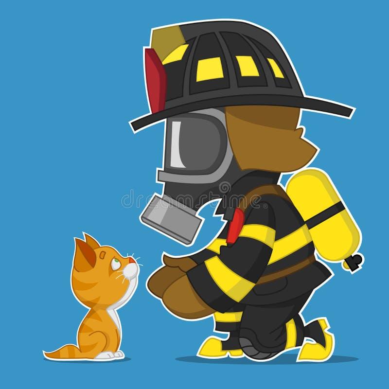Brandmannen räddar kattungen vektor illustrationer