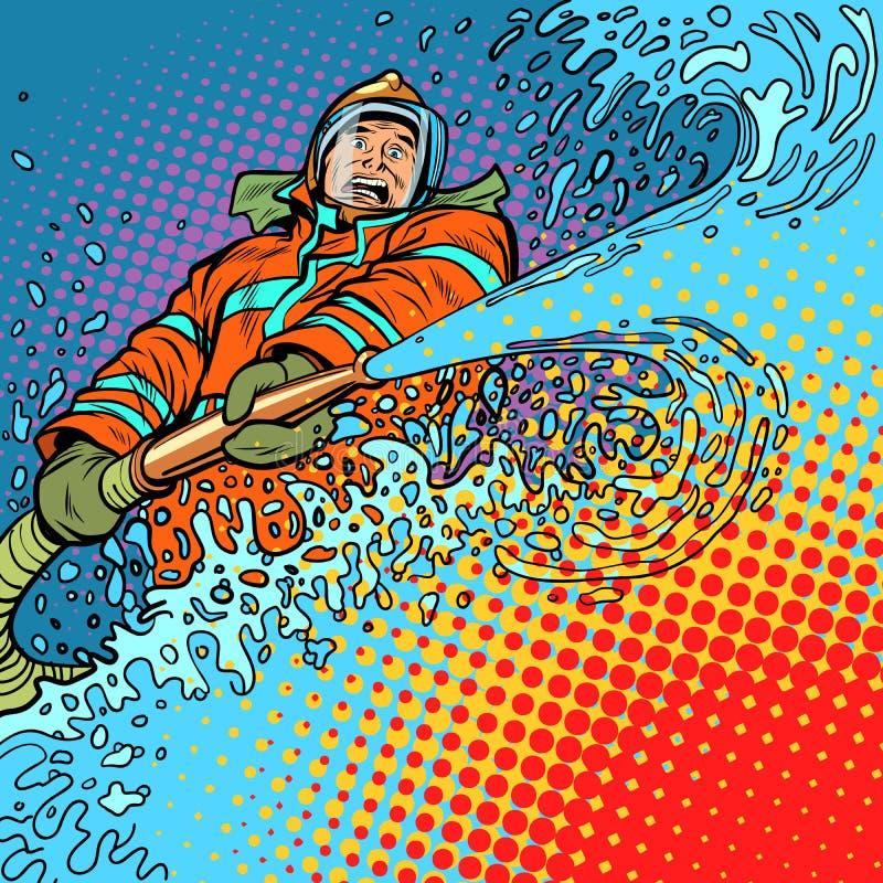 Brandmannen sätter ut brand med vatten vektor illustrationer