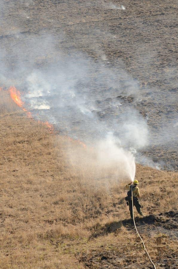 Brandmannen släcker burninggräs i Ukraina royaltyfri fotografi