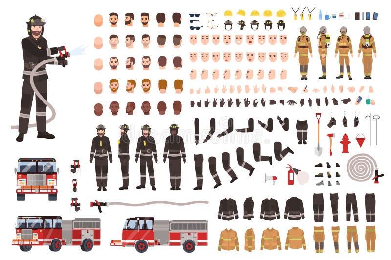 Brandmanskapelseuppsättning eller konstruktör Samling av brandmankroppsdelar, ansiktsuttryck, skyddskläder vektor illustrationer