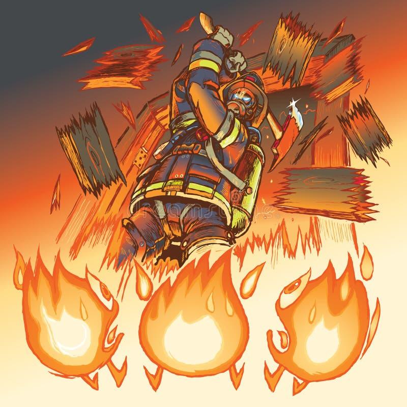 Brandmanslagsmålbrand med en yxa royaltyfri illustrationer