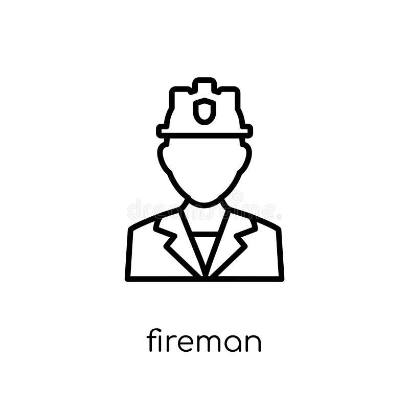 Brandmansymbol Moderiktig modern plan linjär vektorbrandmansymbol på w royaltyfri illustrationer