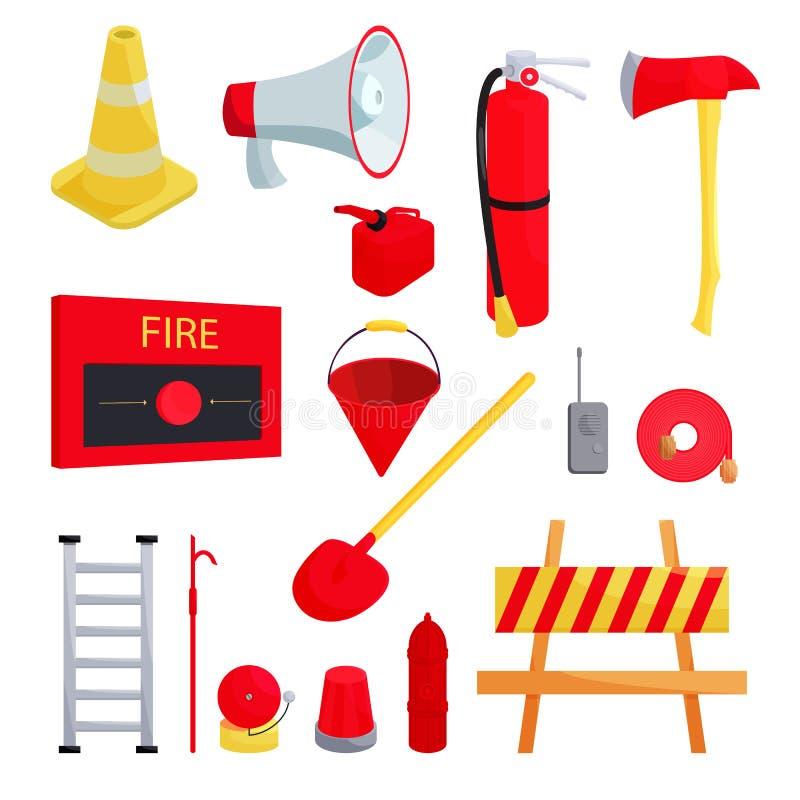 Brandmansymboler uppsättning, tecknad filmstil royaltyfri illustrationer