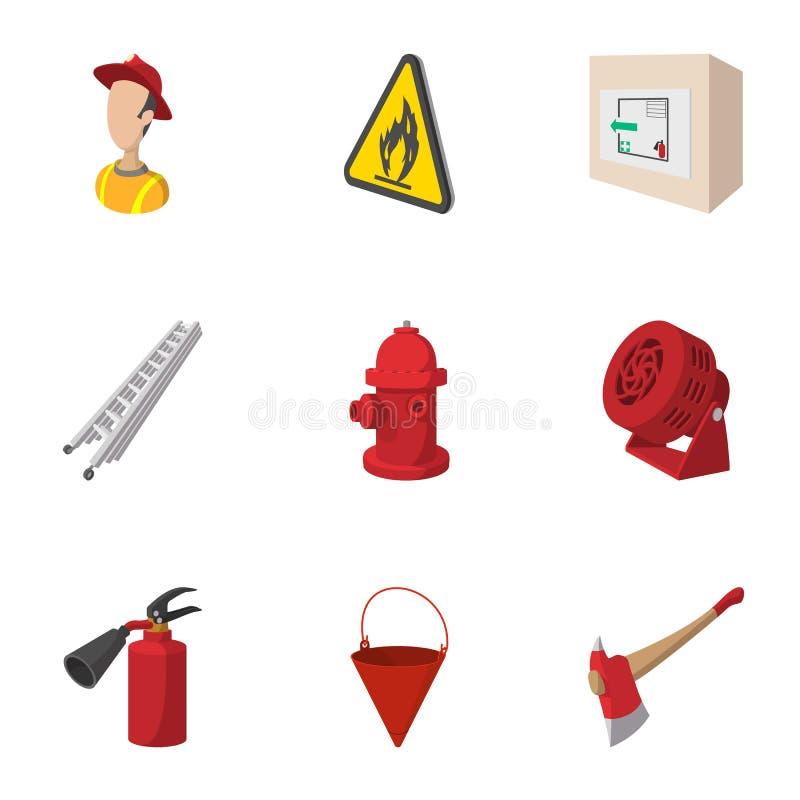 Brandmansymboler uppsättning, tecknad filmstil stock illustrationer