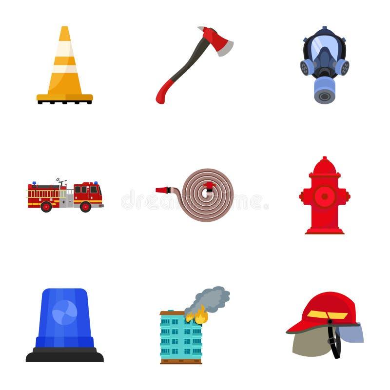 Brandmansymbolsuppsättning, plan stil royaltyfri illustrationer