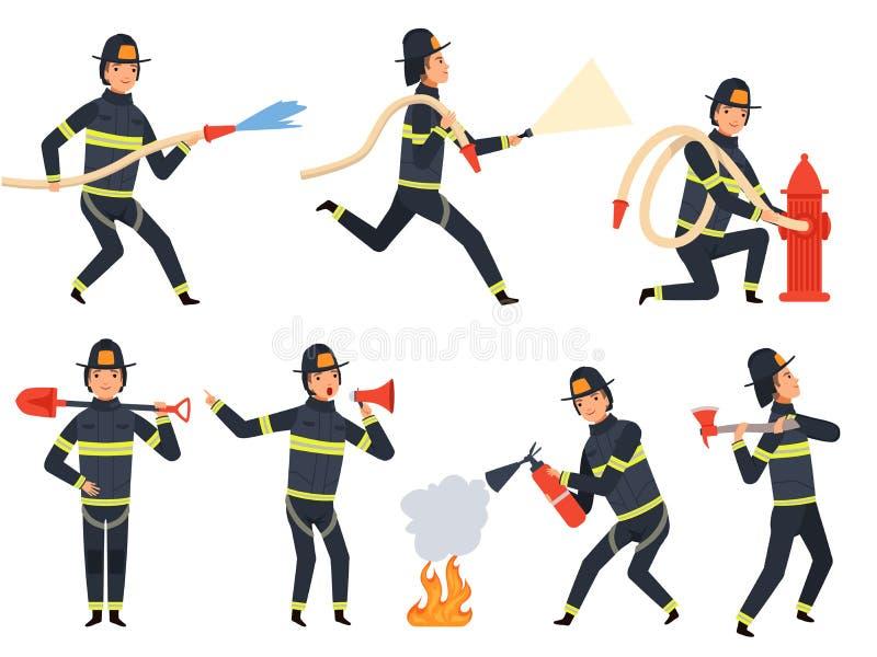 Brandmantecken Folket för portion för räddningsaktionbrandmanbesparing bevattnar, och brandvektormaskot i handling poserar royaltyfri illustrationer
