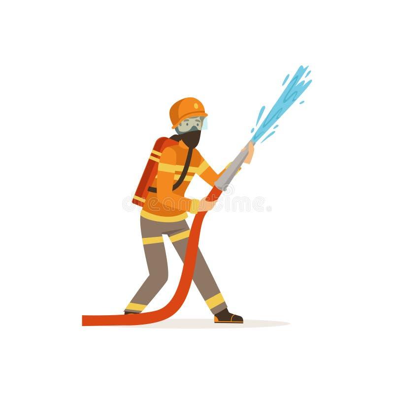 Brandmantecken i innehavslangen för enhetlig och skyddande maskering som släcker brand med vatten, brandman på arbetsvektorn royaltyfri illustrationer