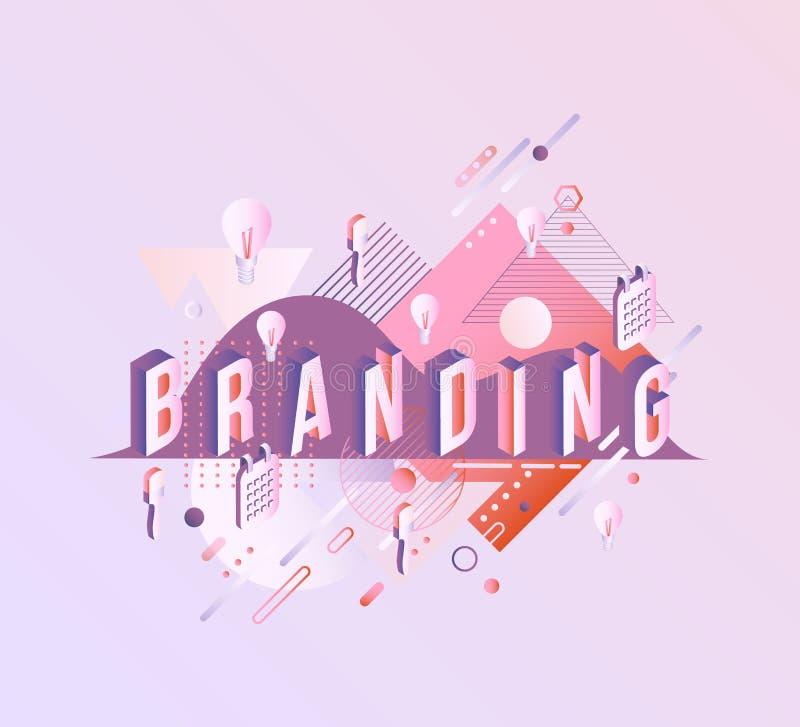 Brandmerkend isometrisch woordontwerp - brieven met gradiënt op pastelkleurachtergrond vector illustratie