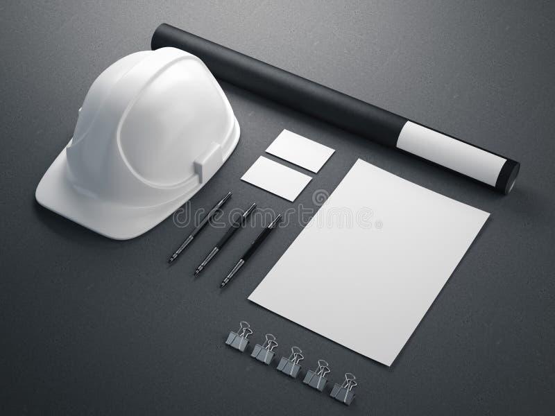 Brandmerkend model met witte helm het 3d teruggeven stock illustratie