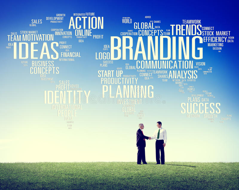 Brandmerkende Wereld het Globale Marketing Concept van de Identiteitsindividualiteit royalty-vrije stock foto's