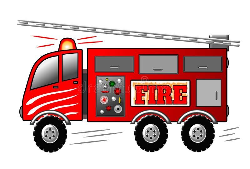 Brandmotor med stegen och siren för illustrationlastbil för brand fritt arbete royaltyfri illustrationer