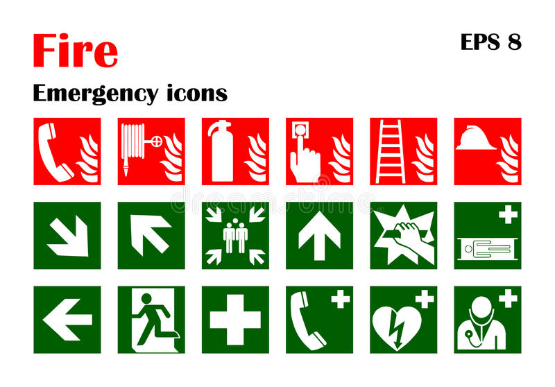 Brandnödlägesymboler också vektor för coreldrawillustration stock illustrationer
