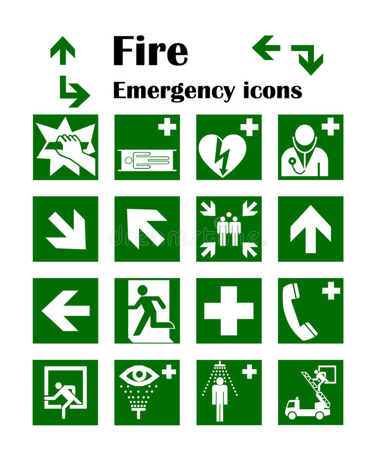 Brandnödlägesymboler också vektor för coreldrawillustration Denna är mappen av formatet EPS10 vektor illustrationer