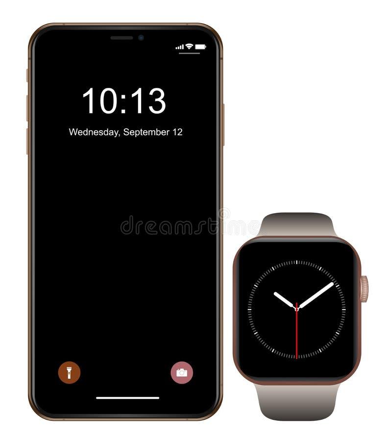 Brandnew realistyczny telefonu komórkowego czerni smartphone w iphon stylu z smartwatch ilustracja wektor
