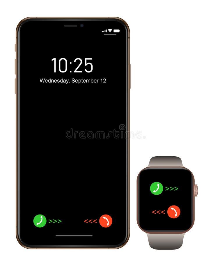 Brandnew realistyczny telefonu komórkowego czerni smartphone w iphon stylu z smartwatch ilustracji