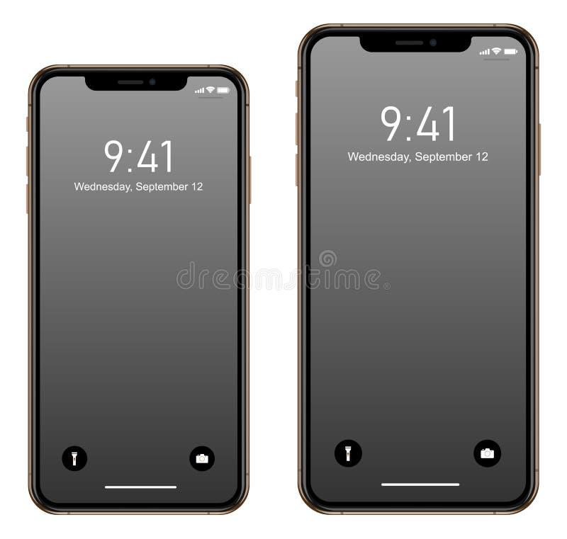 Brandnew realistyczny telefonu komórkowego smartphone w Jabłczanym iPhone XS Max ilustracja wektor